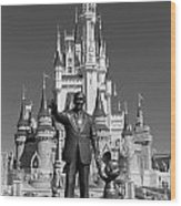 Black And White Disney And Mickey Wood Print
