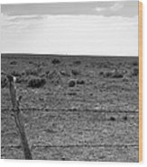 Black And White Fence  Wood Print