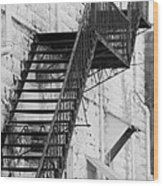 Black And White Fire Escape Usa Near Infrared Wood Print