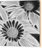 Black And White Florals Wood Print