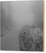 Black And White Foggy Morning Walk Wood Print