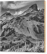 Black And White Garibaldi Black Tusk Wood Print