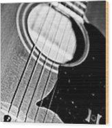 Black And White Harmony Guitar Wood Print