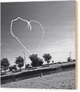 Black And White Heart Wood Print
