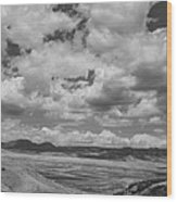 Black And White High Desert Cumulus Wood Print