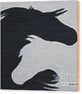 Black And White Horses Together Forever Wood Print