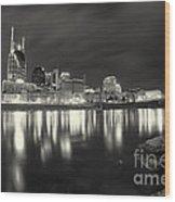 Black And White Image Of Nashville Tn Skyline  Wood Print by Jeremy Holmes