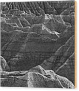 Black And White Image Of The Badlands Wood Print