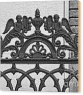 Black And White Ironwork Wood Print by Alys Caviness-Gober