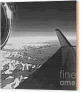 Jet Pop Art Plane Black And White  Wood Print