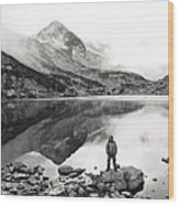 Black And White Mountain Landscape  Wood Print