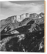 Black And White Mountains Wood Print