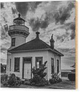 Black And White Mukilteo Lighthouse Wood Print