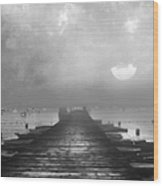 Black And White Mystery- From The Moon To The Mist Wood Print