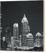 Black And White Night In Atlanta Wood Print