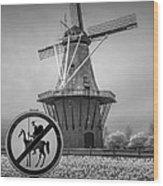 Black And White No Tilting At Windmills Wood Print