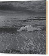 Black And White Ocean Wave 2014 Wood Print