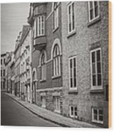Black And White Old Style Photo Of Old Quebec City Wood Print