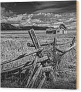 Black And White Photo Of A Wood Fence At The John Moulton Farm Wood Print