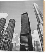 Black And White Photo Of Chicago Skyscrapers Wood Print