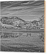 Black And White Photo Of Long Pond Acadia National Park Maine Wood Print