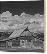 Black And White Photo Of The T.a. Moulton Barn In The Grand Tetons Wood Print