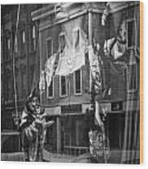 Black And White Photograph Of A Mannequin In Lingerie In Storefront Window Display  Wood Print
