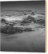 Black And White Photograph Of Waves Crashing On The Shore At Sand Beach Wood Print