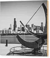 Black And White Picture Of Adler Planetarium Sundial Wood Print by Paul Velgos
