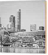 Black And White Picture Of Chicago Skyline Wood Print by Paul Velgos