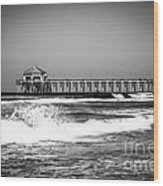 Black And White Picture Of Huntington Beach Pier Wood Print by Paul Velgos