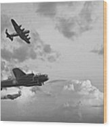Black And White Retro Image Of Batttle Of Britain Ww2 Airplanes Wood Print by Matthew Gibson