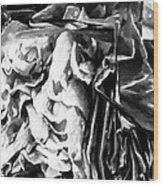 Black And White Ruffles Wood Print