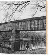 Black And White Schofield Ford Covered Bridge Wood Print
