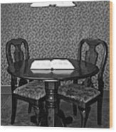 Black And White Sitting Table Wood Print