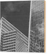 Black And White Skyscrapers Wood Print