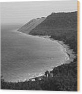 Black And White Sleeping Bear Dunes Wood Print