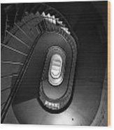 Black And White Spiral Staircaise Wood Print