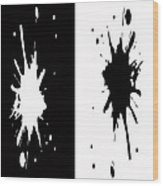 Black And White Splashes Digital Painting Wood Print