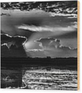 Black And White Sunset Over The Mead Wildlife Area Wood Print