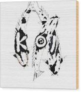 Black And White Trio Of Koi Wood Print