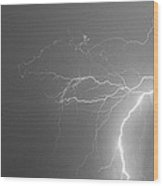 Black And White Tropical Thunderstorm Night  Wood Print