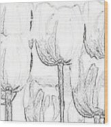 Black And White Tulips Wood Print
