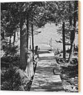 Black And White Walkway Wood Print