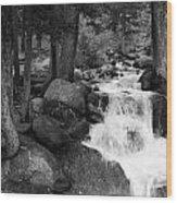 Black And White Waterfall Wood Print