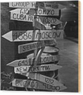 Black And White World Directions Wood Print