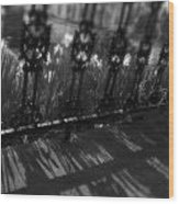 Black And White Wrought-iron Porch Wood Print