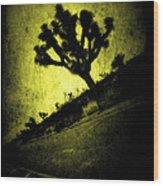 Black And Yellow Joshua Tree Poster Wood Print