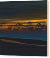 Black Beach With Orange Sky Wood Print