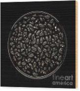 Black Beans In Bowl Wood Print